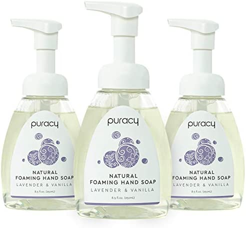 Puracy Natural Foaming Hand Soap Moisturizing Hand Wash Lavender Vanilla 8 5 Ounce Pack of 3 product image