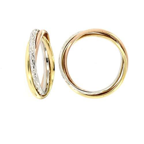 Del Pia Anello Tre Colori a Tre Anelli Incrociati diamantato (Oro Bianco Giallo Rosa, 18)