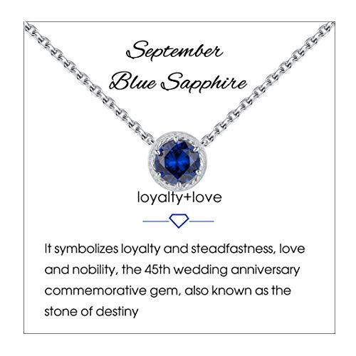 Qings Collar de Piedra de Nacimiento de Septiembre Plata de Ley 925 Zafiro Azul Piedra de Nacimiento de Piedra Preciosa Collares Colgante Collares de Mujer para Mujer Cumpleaños