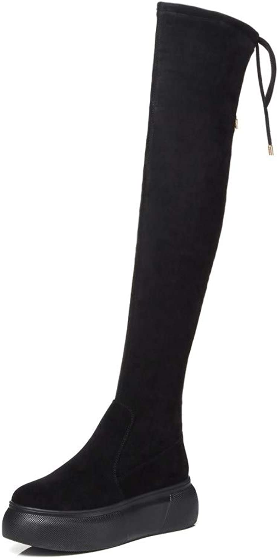 Nine Seven Women's Suede Leather Round Toe Wedge Heel Side Zipper Handmade Comfortable Back Tie Over The Knee Boots Pearls