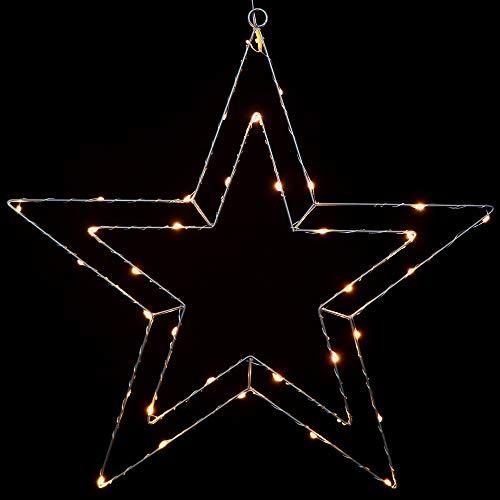 Gartenpirat Estrella Doble Alambre Lacado Plateado luz 35 Micro LED Blanco cálido Timer Interiores