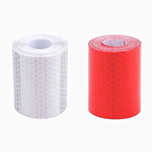 Rojo Blanco Honeycomb bandas reflectantes impermeable auto-remolque cinta reflectante cinta reflectante para remolques de camiones alarma de coche cinta de precaución 2 piezas, 5 cm * 3m