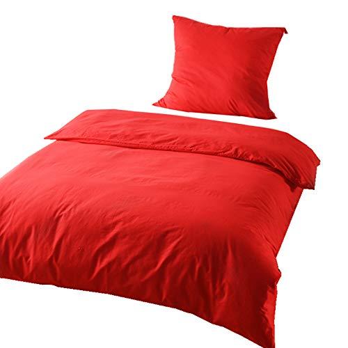 KEAYOO Bettwäsche Rot 135x200 cm Bettbezug + 80x80 cm Kissenbezug 100{81df7abbb014ccd735bc1ae029a642310163b73a95f717648b0783e40f5344e3} Baumwolle mit Reißverschluss 2 teilig