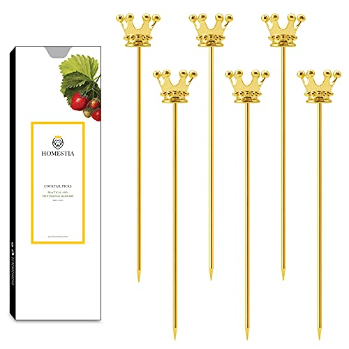 Metal Cocktail Picks Stainless Steel Royal Crown Martini Picks Reusable Toothpicks Garnish Forks Fruit Toothpicks for Olives, Appetizer, Sandwiches, Cherries 4.4 Inch Set of 6 by Homestia
