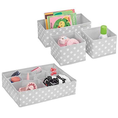 mDesign 4er-Set Aufbewahrungsboxen Stoff – Schubladenboxen mit insgesamt 13 Fächern – Kinderschrank Schubladen Organizer für Kleidung, Kosmetik, Windeln, Tücher, Lotion etc. – grau/weiß