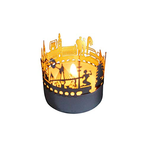 13gramm Hamburg-Skyline Windlicht Schattenspiel Souvenir, 3D Edelstahl Aufsatz für Kerze inkl. Karte