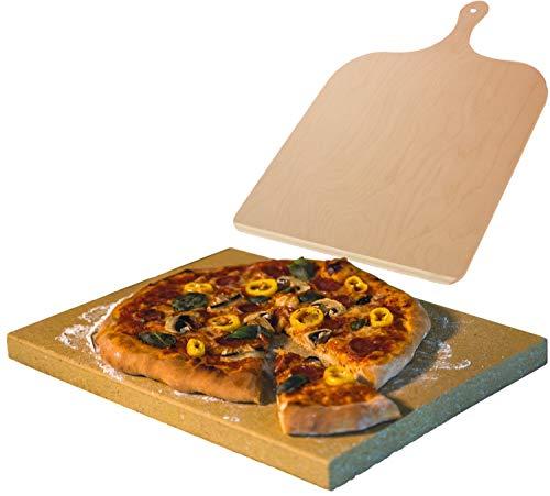 Pizzastein Schamott mit Holzschieber