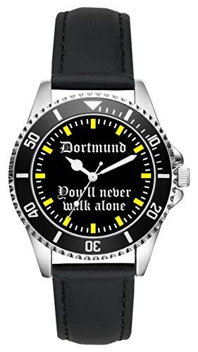 KIESENBERG Herrenuhr Armbanduhr Dortmund Geschenk Artikel Idee Fan Analog Quartz Lederarmband Uhr L-2208