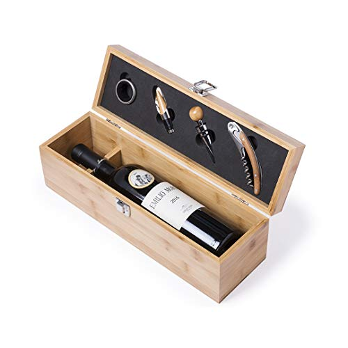 MKTOSASA - Set de Vinos Premium con Acabado en Madera de Bambú, Compartimento para Botella y 4 Accesorios en Acero Inoxidable con Detalles en Bambú - 36x12x11cm