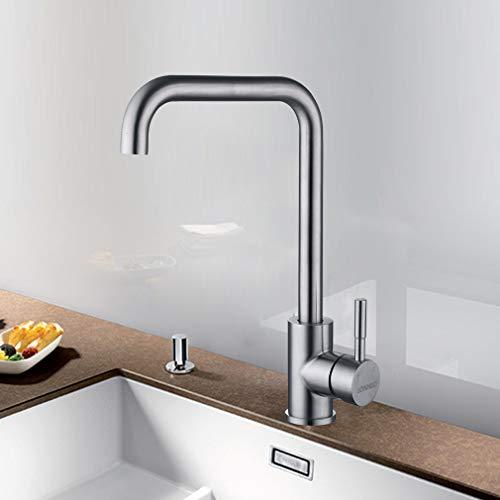 LONHEO Edelstahl Niederdruck Wasserhahn für Küche Niederdruck Küchenarmatur mit 360° Schwenkbarer Mischbatterie Wasserhahnarmatur für Küche Waschbecken