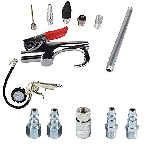 KingBra - Kit básico de 12 piezas de pistola de aire y inflador de neumáticos, medidor de presión de aire de neumáticos con portabrocas de bloqueo y calibre de 5 cm