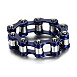 KnBoB Edelstahl Ringe Herren Fahrradkette Silber Blau Ring Größe 57 (18.1)