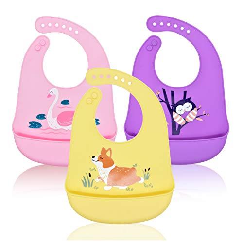 Baberos Bebé Impermeables Silicona,Babero con Bolsillo Flexible y Suave,Babero Grande y Ajustable Reutilizables Lavables para Niña,3 Piezas(Rosa/Púrpura/Amarillo)