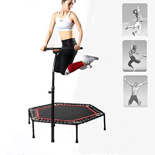 XDKQ 48Inch Indoor Fitness Trampoline Suitable for Unisex Anyone,with Adjustable Handle Bars,Sturdy Structure and Material,The Best Way to Shape