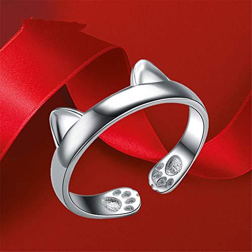 RKWEI Ringe Für Sterling Silber Offener Ring Katzenpfote 925 Silber Öffnung Verstellbare Ringe Süßes Haustier Süßer Katzenohrring