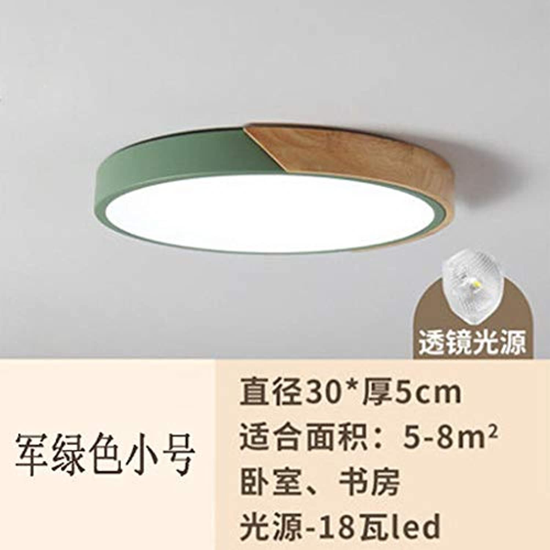 Zhouzhou666 Deckenleuchte Kinderzimmerlampe Führte Schlafzimmer Log Deckenleuchte, Grün DREI Farbtemperatur, 30Cm 18W