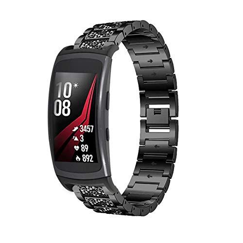 Galaxy Gear Fit 2 ProリストバンドR365、SIMPLE DOステンレススチールラインストーンウォッチバンドジュエリー、ブリンブリンリストバンド、メタルブレスレット交換バンド、Samsung Gear Fit 2 / Fit 2 Pro SM-R360 / R365に適しています (ブラック)