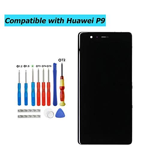 Upplus - Pantalla LCD de Repuesto Compatible con Huawei P9 Standard EVA-L09 EVA-L19 EVA-L29, Pantalla LCD táctil con Marco y Juego de Herramientas (Negro)