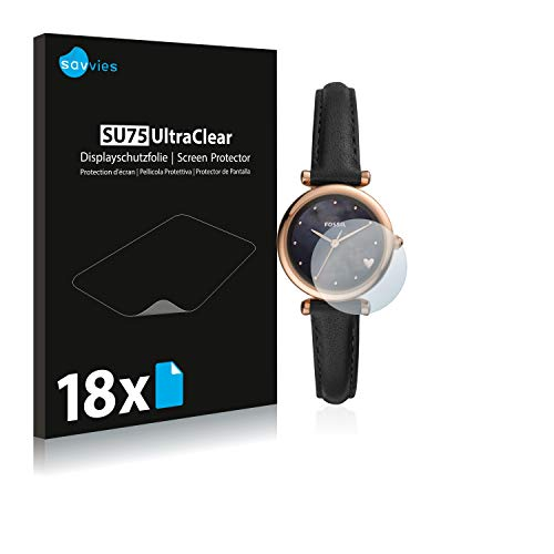 Savvies 18x Schutzfolie kompatibel mit Fossil Carlie Mini Bildschirmschutz-Folie Ultra-transparent