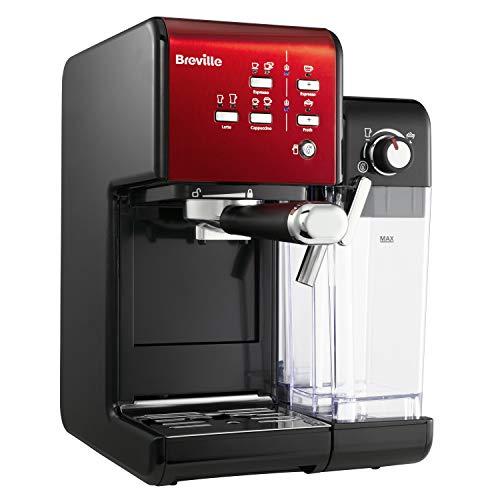 Breville PrimaLatte II Kaffee- und Espressomaschine | italienische Pumpe mit 19 Bar |fr Kaffeepulver oder Pads geeignet | Integrierter automatischer Milchschäumer | Schwarz/Rot | VFC109X-01