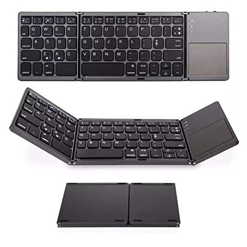 Foldable Bluetooth Mini Keyboard, Rechargeable Portable Keyboard with Bluetooth Wireless and Touchpad for iOS/Android & Windows