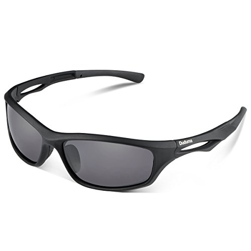 Duduma Polarized Sports Sunglasses for Running Cycling Fishing Golf Tr90 Unbreakable Frame (black matte frame with black lens)
