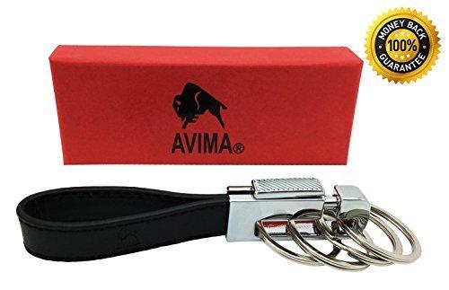 #1 Best Premium Quality Elegant Classic Casual Durable Stylish Genuine Leather Strap Valet Key Chain Car Key Keyring Key Fob with 4 Detachable Key Rings, Black - 100% Satisfaction Guarantee (1 Pack)