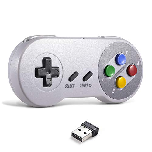 2.4 GHz Wireless USB Controller Compatible with Super NES Games, iNNEXT SNES Retro USB Classic Controller Joypad Joystick for Windows PC MAC Linux Genesis (Multi-Colored Keys)
