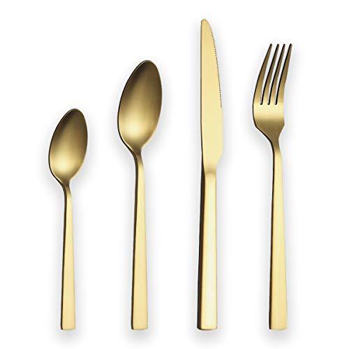 Berglander Juego de cubiertos 24 piezas con baño de titanio dorado, juego...