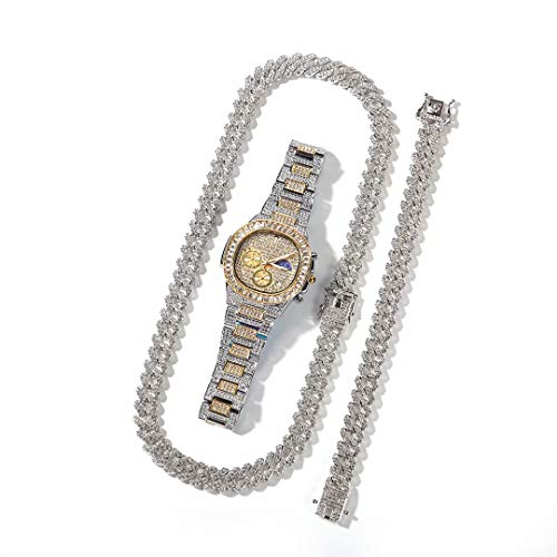 Hip Hop Iced out Bling Collar Pulsera Reloj Conjunto Totalmente Diamante Cristal Joyas Conjunto Regalo para Hombres Mujeres