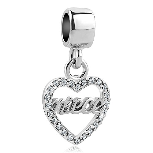 Lifequeen Jewellery Heart Love Mum Sister Friend Niece Charms Beads for Bracelets