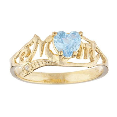 14Kt Gold Simulated Blue Topaz & Diamond Heart Mom Ring