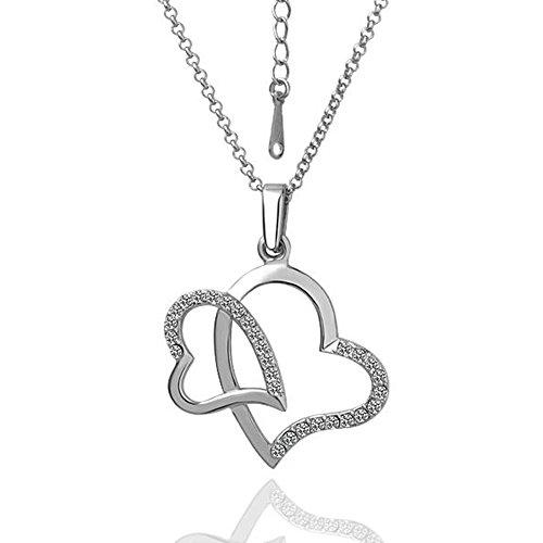 Star Jewelry - Collar con Colgante de Cristal de imitación de Dos Corazones bañado en Oro Blanco de 18 Quilates para Mujer
