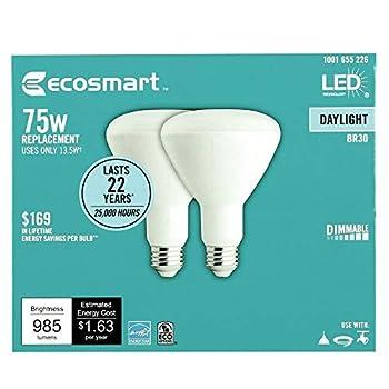 EcoSmart 75-Watt Equivalent BR30 Dimmable LED Light Bulb Daylight  4-Pack