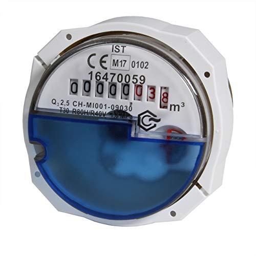 Wohnungs-Wasserzähler Unterputz für Kaltwasser, Q3 2,5m³, koax
