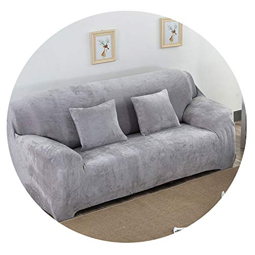 Old street Super Soft Stretch Thick Plush Sofa Slipcover Couch Armchair Covers Furniture Seater Protector for Winter & Spring Use, Form Fit,Gray,4 Seater