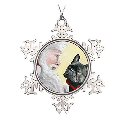 Delia32Agnes French Bulldog and Santa Dog Christmas Ornament Pewter Snowflake Ornaments for Christmas Decoration