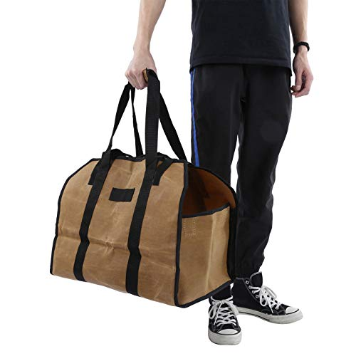 Pwshymi Portable Firewood Carry Bag Log Tote fashion look Log Bag for firepit Camping outdoors(Wet wax mud color)