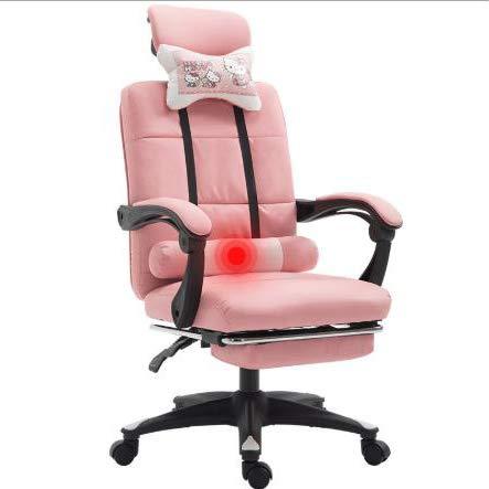 LWZ Sillas de Juego, sillas de Oficina, sillas giratorias robustas y ergonómicas, sillas con Cojines y respaldos Ajustables, sillas con reposapiés retráctiles (Negro y Rojo),Nylon Feet