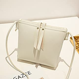 2018 New Women's Shoulder Bag Fashion Double Pull Mobile Phone Bag Simple Wild Single Shoulder Diagonal Bag (Color : White, Size : M)