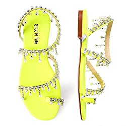 Yellow-A Rhinestone Pearl Flat Gladiator Sandal With Toe Ring