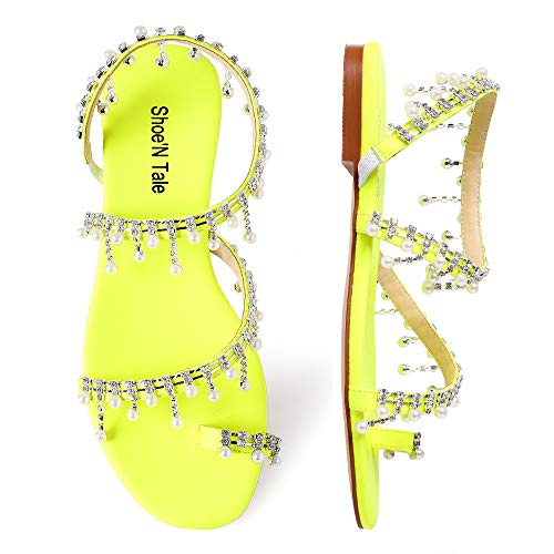Shoe'N Tale Women's Bohemia Bling Rhinestone Pearl Flat Gladiator Sandals Toe Ring Dress Shoes (7, 2-Yellow)