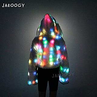 Light UP Coat LED Flashing Jacket Faux Fur Coat Girls Hoodie Sports Lighted Carnival Stage Birthday Dress Up Halloween Party Costume Dances
