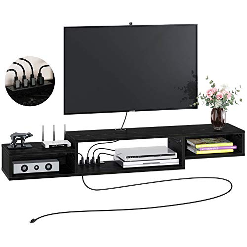 """Rolanstar Wall Mounted Media Console with Power Outlet 59"""", Rustic Floating TV Stand Component Shelf, Entertainment Storage Shelf for Living Room, Black"""