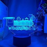 Locomotiva, luce notturna a LED per bambini, decorazione unica, regalo di compleanno per bambini, sala studio, lampada da scrivania, trenino, 16 colori senza telecomando