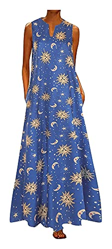 WEIWEIMITE Vestido de sol retro con estampado tropical de sol y luna, con cuello en V, informal, sin mangas, con bolsillo y tapón, color azul, talla 5X