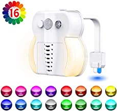 Toilet Night Light, Motion Sensor Night Light, 16 Colors LED UV Toilet Bowl Light with 2 Aromatherapy Tablets,Internal Memory, Light Detection, Color Changing Toilet Light for Bathroom