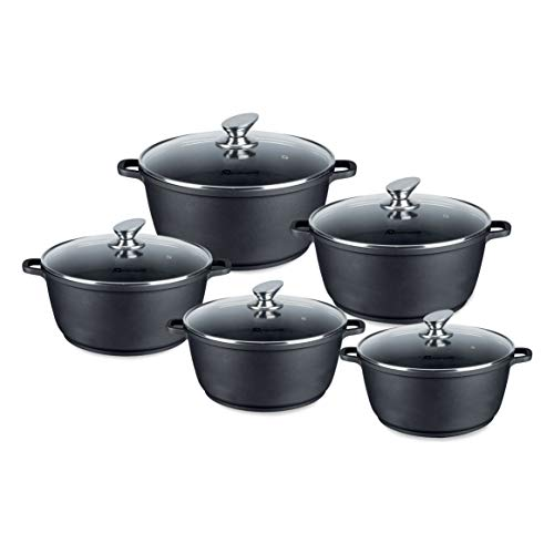 SQ Professional NEA Die-Cast Aluminium Stockpot 5pc Set with Lid 3-Layer Non-Stick Coating (Black)