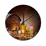 NANITHG Madera Reloj de Pared,Barril de Madera Licor Retro Jarra de Cerveza Rebosante Trigo Maduro Barril de Cerveza Grifo de Agua Humor Escena de la Naturaleza,decoración de paredsin tictac,34cm