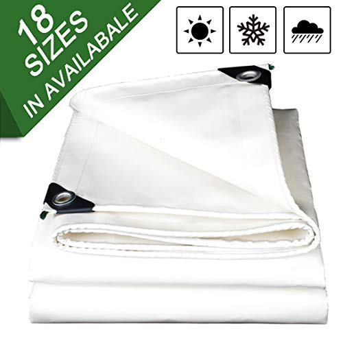 NaDrn Tarps Heavy Duty Waterproof White, Tarpaulin Sheet Heavy Duty Waterproof 18mil Thick Material, Waterproof, Great for Contractors, Campers, Farmers, Boats, Motorcycles, Hay Bales,4x5m/13x16ft